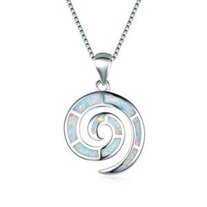 NWOT White Fire Opalite Infinity Circle Necklace